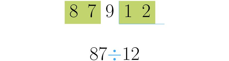 Toma otra cifra del dividendo si el número a dividir resulta menor que el divisor.