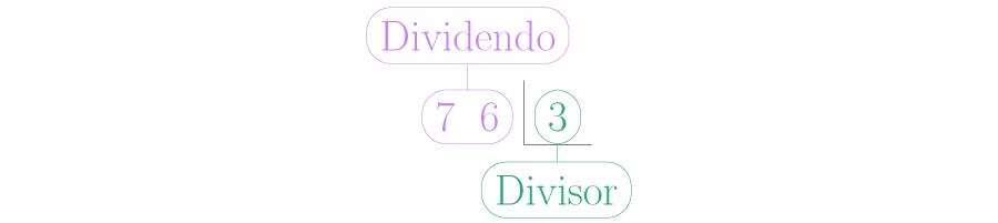 Se ubican el dividendo y el divisor.