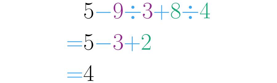 Se realizan primero las divisiones, luego las sumas y restas.