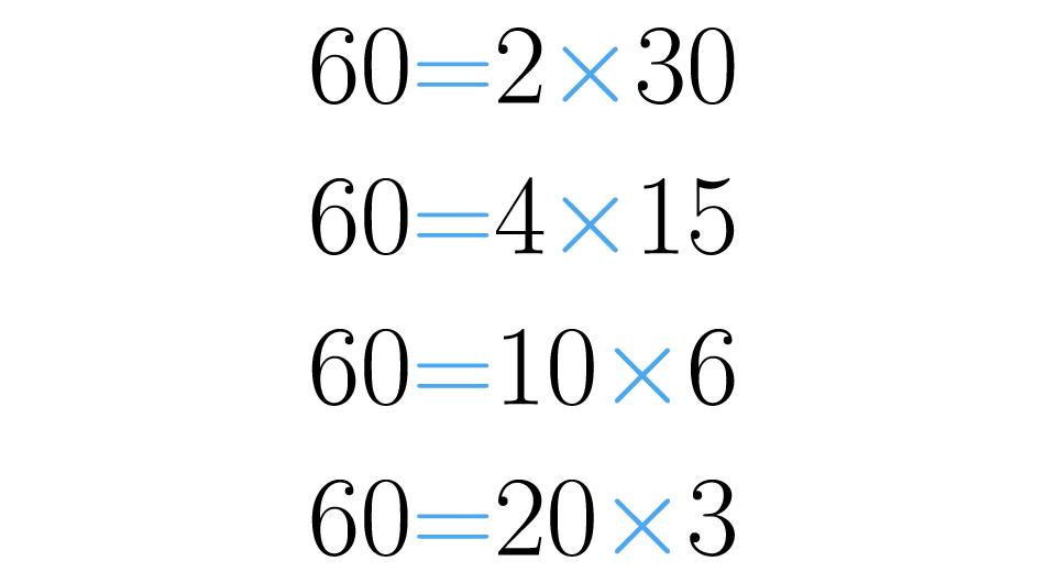 Posibles factorizaciones del 60.