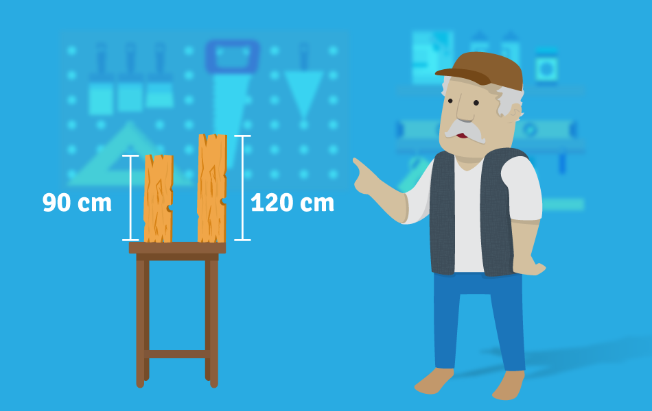Dos trozos de madera de 90 y 120 centímetros.