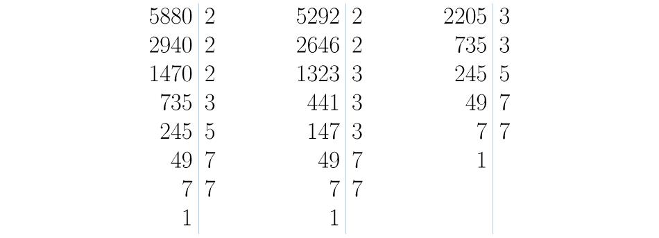 Se descomponen los números en factores primos.