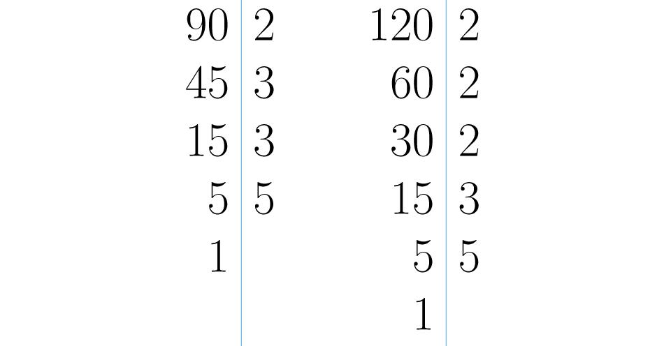 Descomposiciones de 90 y 120.