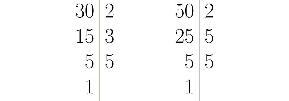 Descomposiciones de 30 y 50.