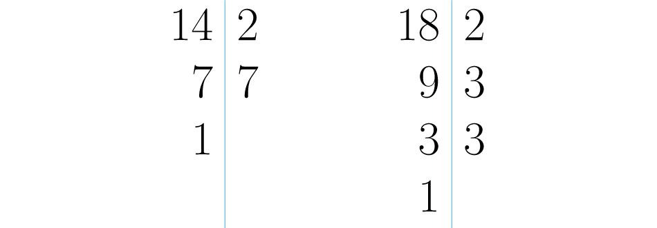 Descomposiciones de 14 y 18.