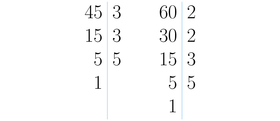 Descomposiciones primas de 45 y 60.