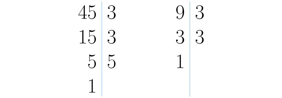 Descomposiciones de 45 y 9.