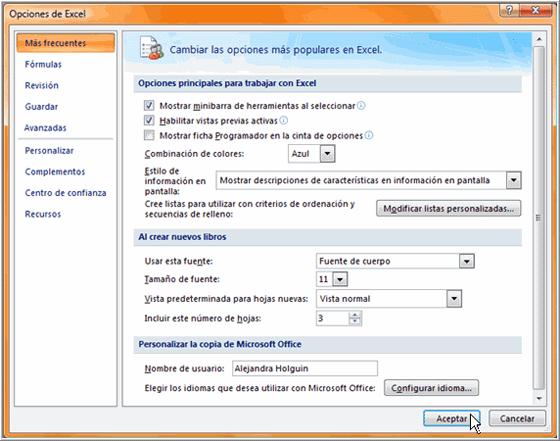 Cambiar las Opciones Predeterminadas de Excel