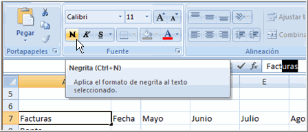 Formatear texto en Negrilla o Cursiva