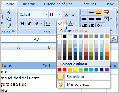 Añadir un Color de Relleno