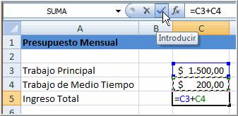 Fórmula Simple para sumar dos celdas