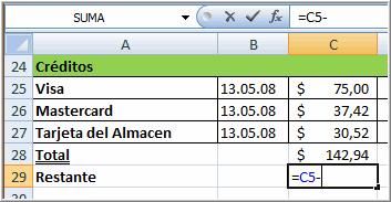 Crear una fórmula usando el método Puntero y Clic