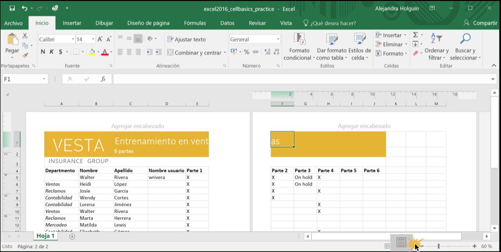 Imagen ejemplo de la vista Diseño de página en Excel 2016.
