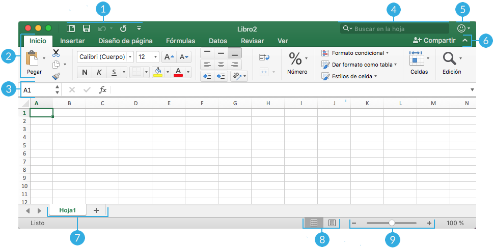 Imagen numerada de las partes de la interfaz de Microsoft Excel para macOS.