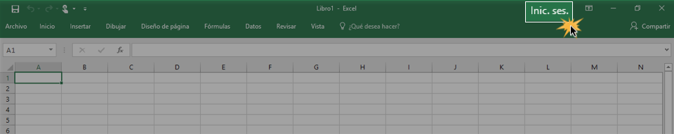 Imagen ejemplo del botón iniciar sesión en Excel 2016.