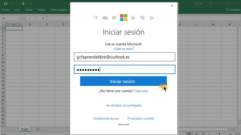 Imagen ejemplo del paso 3 para iniciar sesión en cuenta Microsoft.