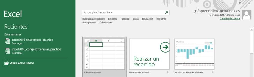 Imagen ejemplo de cómo abrir o crear un archivo en Excel al abrir el programa.