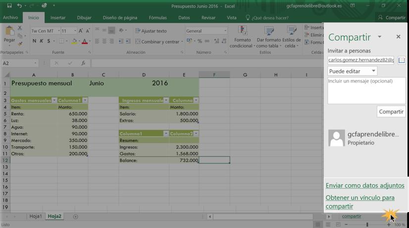 Imagen ejemplo de las opciones Enviar datos como adjuntos y Obtener un vínculo para compartir.
