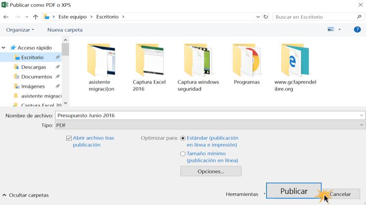 Imagen ejemplo del cuadro de diálogo de Publicar como PDF o XPS.