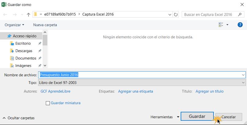 Imagen ejemplo del cuadro de diálogo de Guardar como al exportar un archivo en Excel 2016.