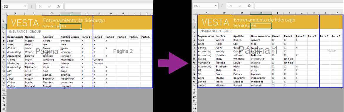 Imagen ejemplo de cómo cambiar los saltos de página en Excel 2016.