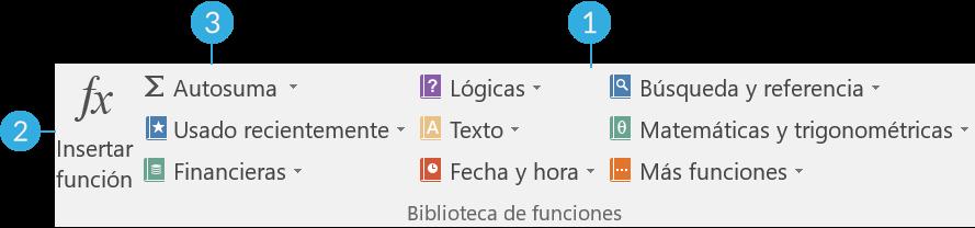 Imagen ejemplo de Insertar función, Autosuma y las categorías de funciones.