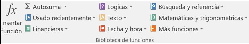 Imagen ejemplo de las categorías de funciones de Excel 2016.