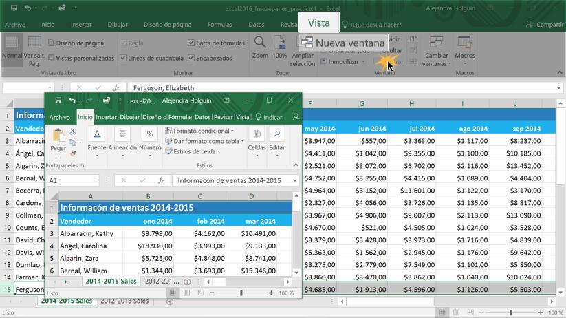 Imagen ejemplo de cómo crear una nueva ventana en Excel 2016.