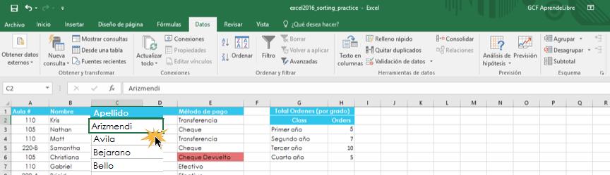 Imagen ejemplo de seleccionar una celda para organizar una hoja de cálculo.