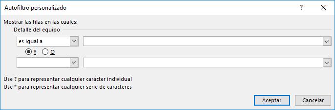 Imagen ejemplo del cuadro de diálogo de Filtro personalizado.