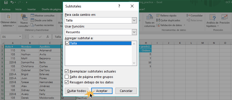 Imagen ejemplo de cómo remover subtotales.