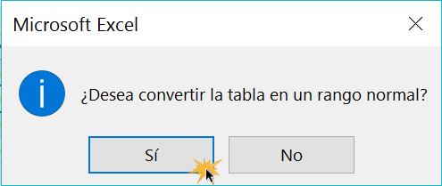 Imagen ejemplo del cuadro de diálogo para remover una tabla.