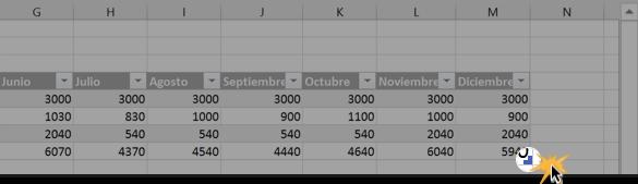 Imagen ejemplo de cómo añadir más filas y columnas a una tabla en Excel.