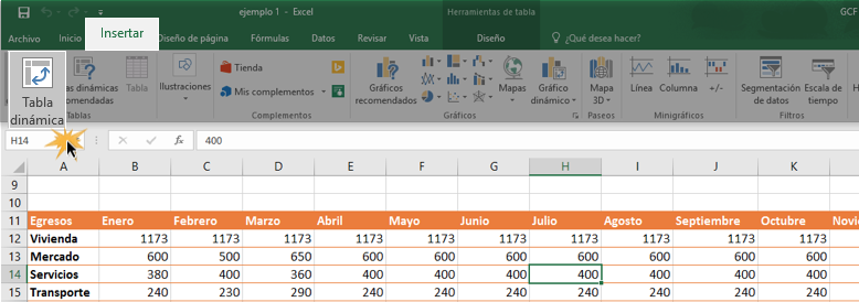 Imagen ejemplo del comando Tabla dinámica.