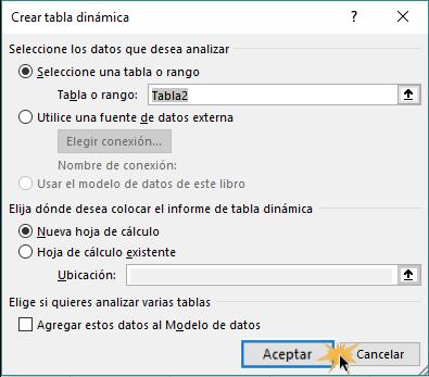 Imagen ejemplo del cuadro de diálogo de Crear tabla dinámica.