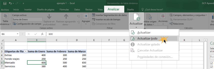 Imagen ejemplo de cómo actualizar una tabla dinámica.