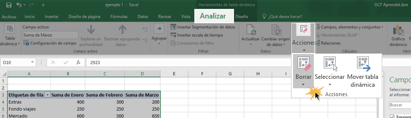 Imagen ejemplo de cómo borrar una tabla o gráfico dinámico.