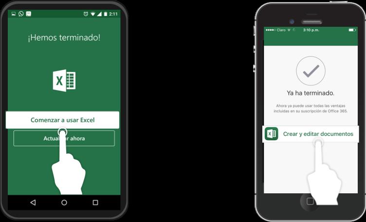 Imagen ejemplo de la interfaz de Excel en dispositivos móviles con SO Android y iOS.