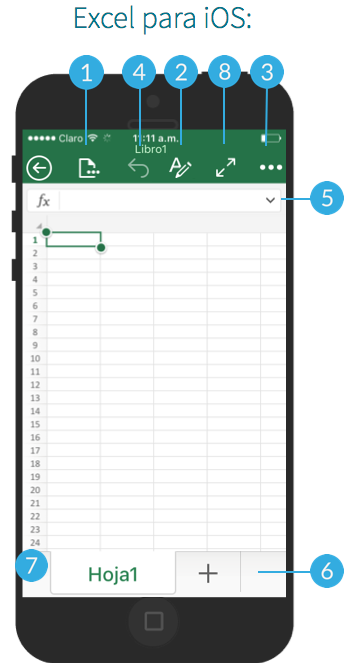 Interfaz de Excel en sistema operativo iOS.
