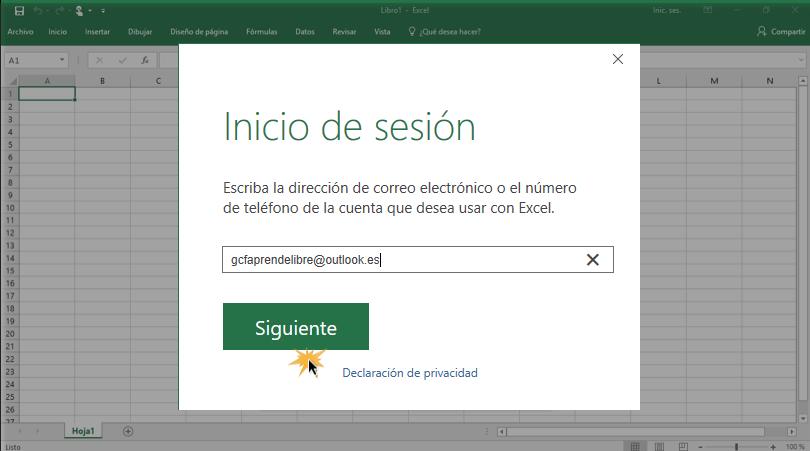 Imagen ejemplo del paso 2 para iniciar sesión con cuenta Microsoft.