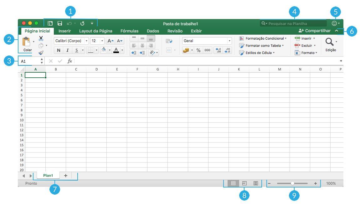 Orientações para a Interface do Excel no Mac.
