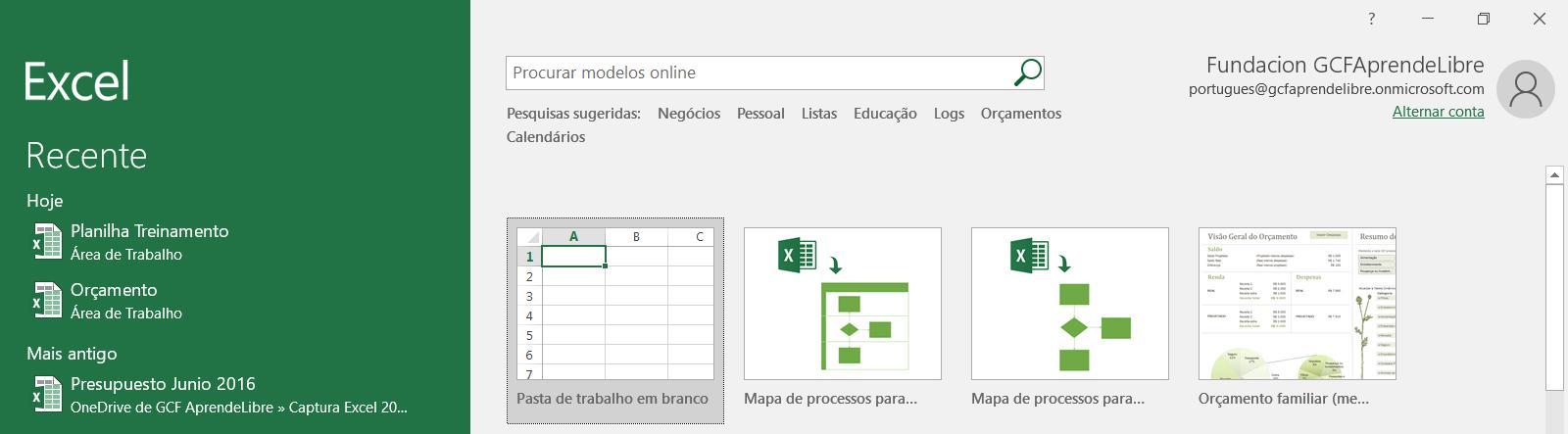 Exemplo de como abrir ou fazer um arquivo no Excel quando abrimos o programa.