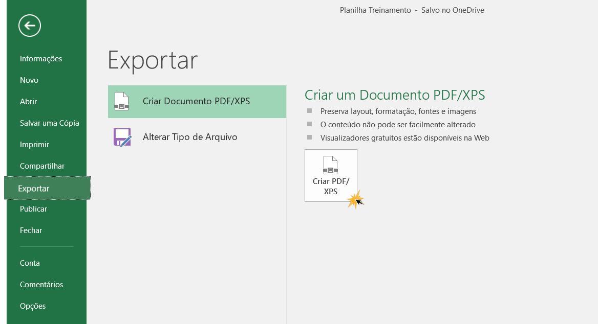 Exemplo do painel Exportar e da opção Criar um documento PDF/XPS.