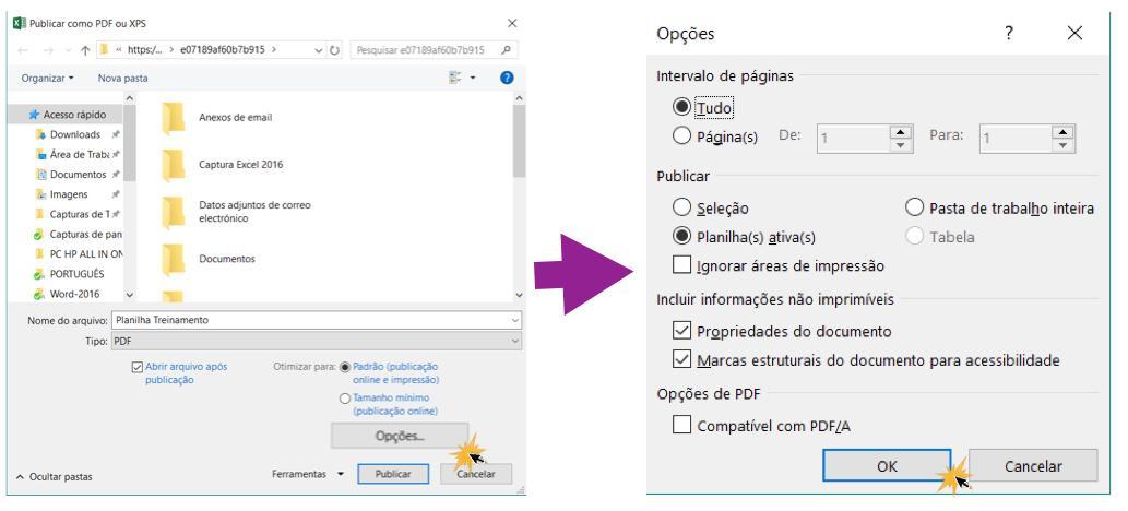Exemplo de opções para exportar um documento a PDF.