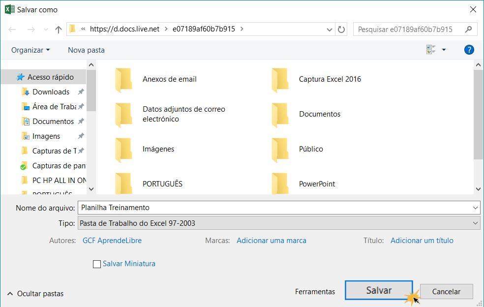 Imagem exemplo da caixa de diálogo Salvar como para exportar um arquivo no Excel 2016.