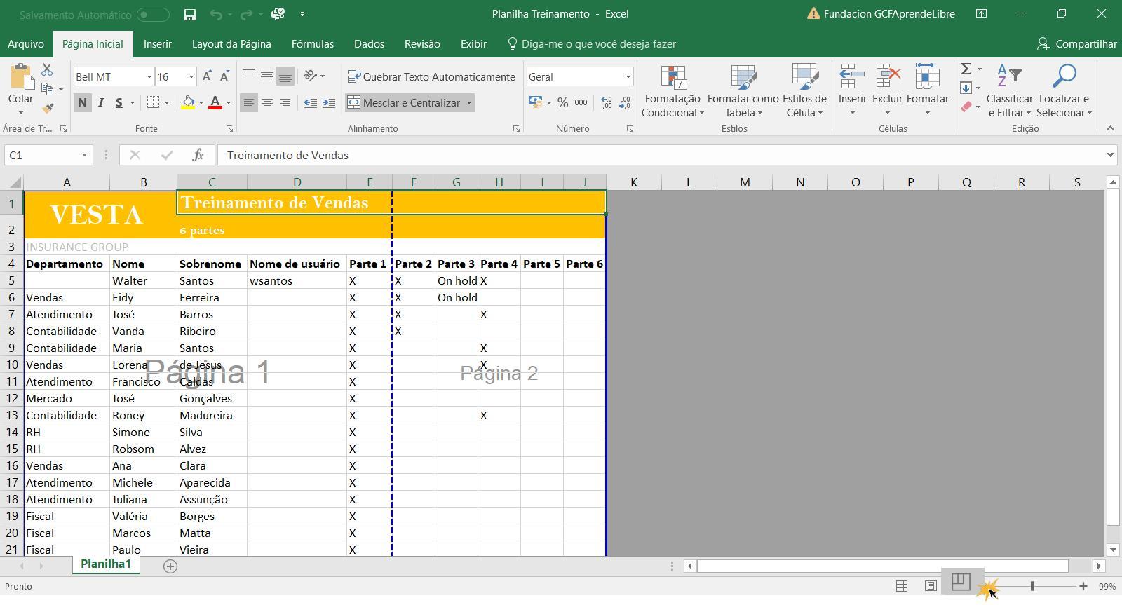 Exemplo da visualização Quebra de página.