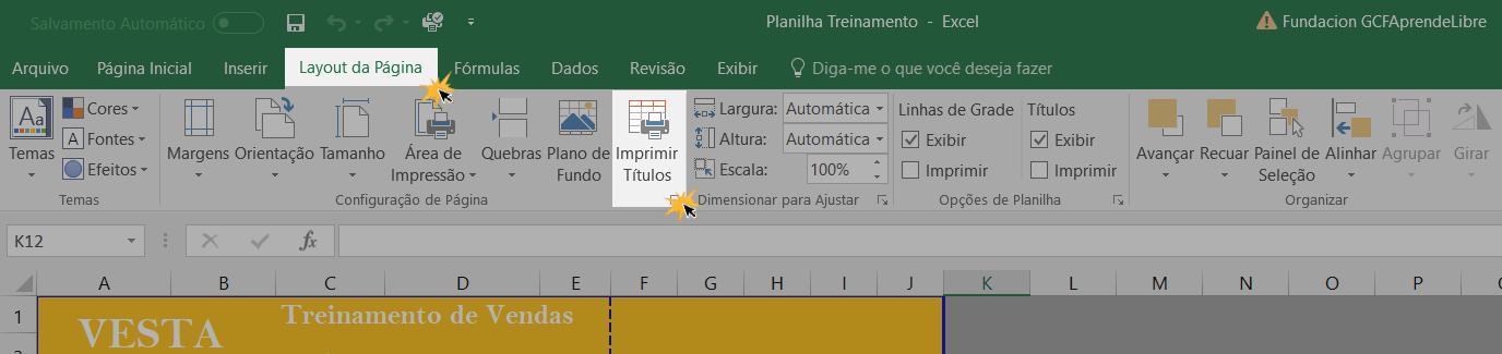 Exemplo do botão Imprimir títulos.