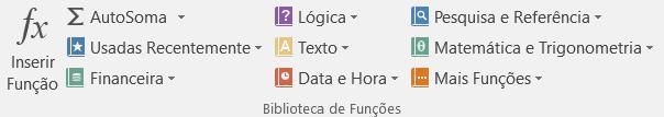 Imagem com as funções do Excel 2016.