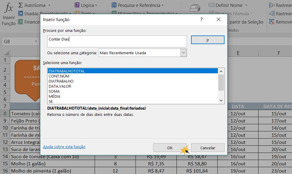 Exemplo de imagem da caixa de diálogo Inserir Função.