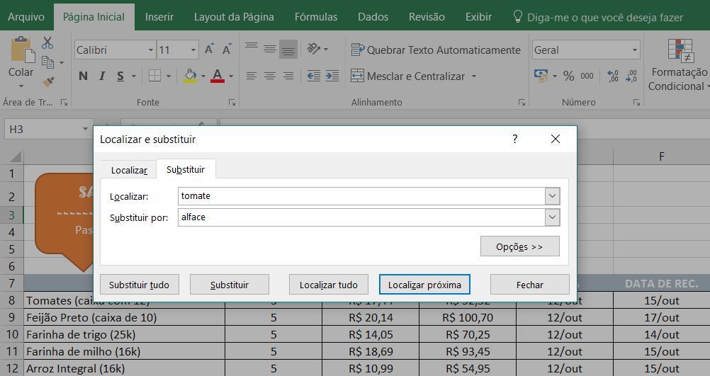 Exemplo da caixa de diálogo para substituir conteúdos no Excel.